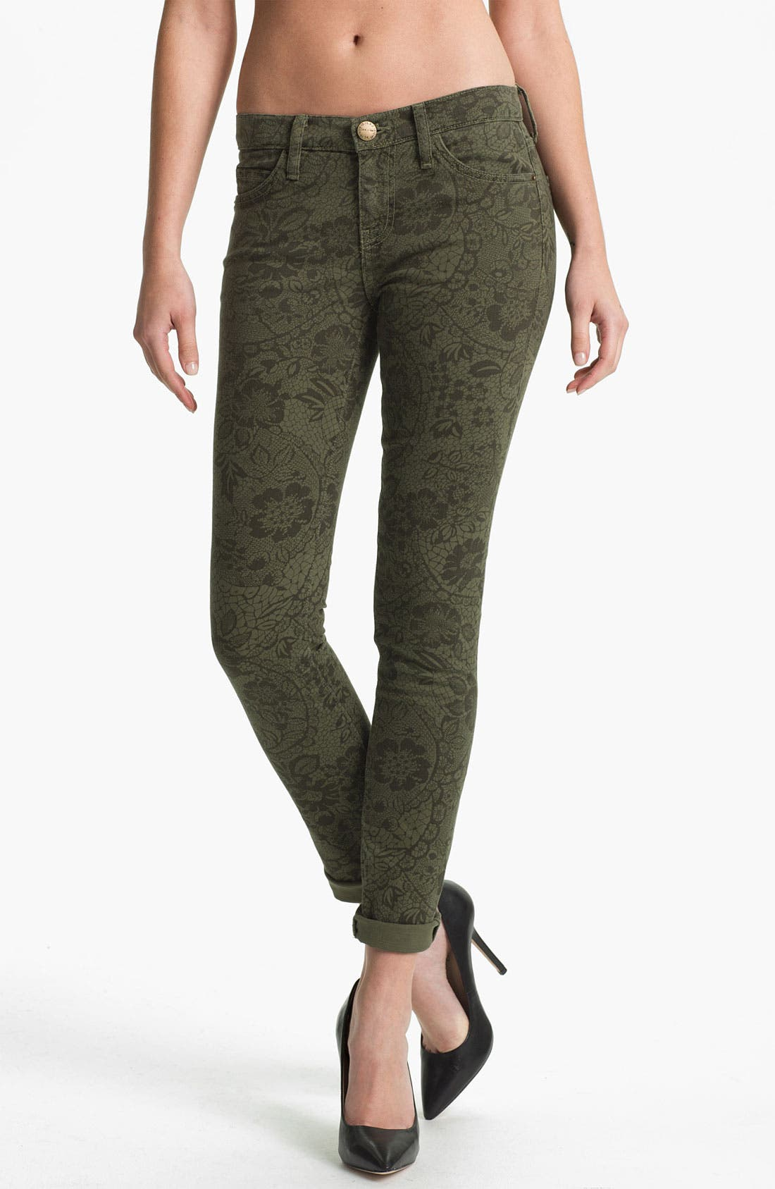 Main Image - Current/Elliott 'The Rolled' Print Stretch Jeans (Army Lace)