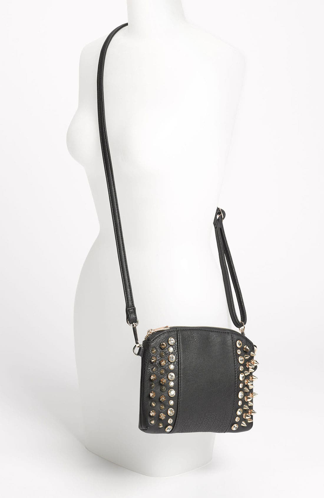 Alternate Image 2  - Street Level Stud & Rhinestone Convertible Clutch