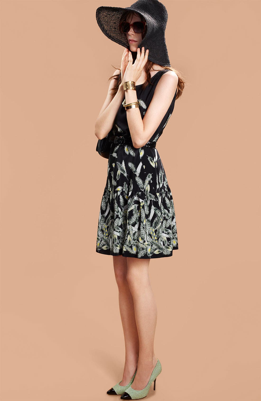 Alternate Image 4  - Miss Wu 'Bella' Belted Feather Print Dress (Nordstrom Exclusive)