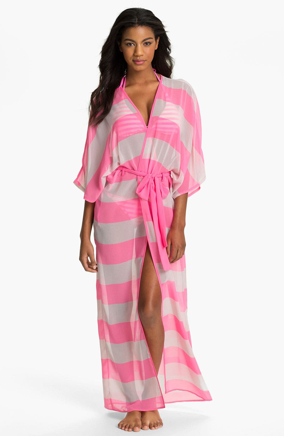 Main Image - Ted Baker London 'Neon Stripe' Long Wrap Cover-Up