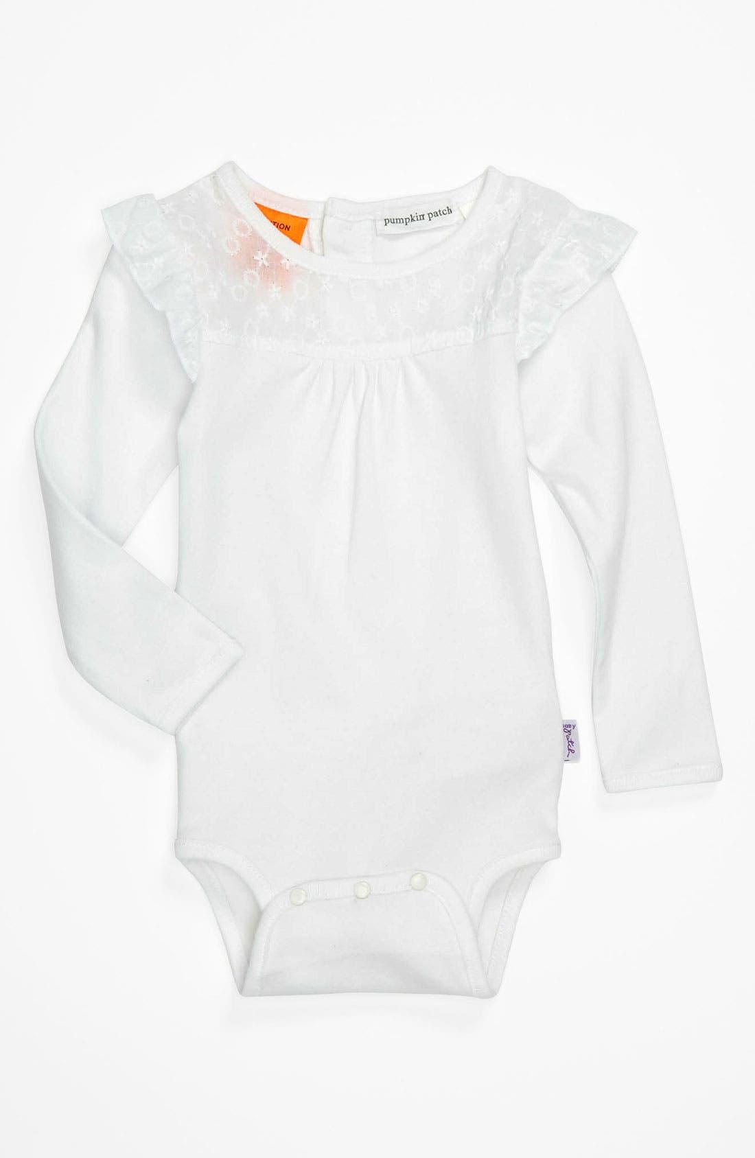 Main Image - Pumpkin Patch 'Flutter & Lace' Long Sleeve Bodysuit (Infant)
