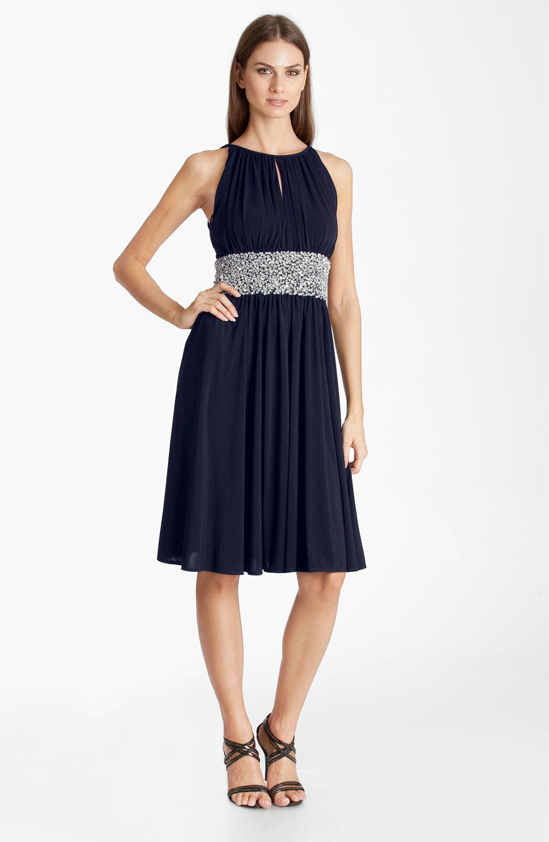 Main Image - JS Boutique Embellished Ruched Jersey Dress
