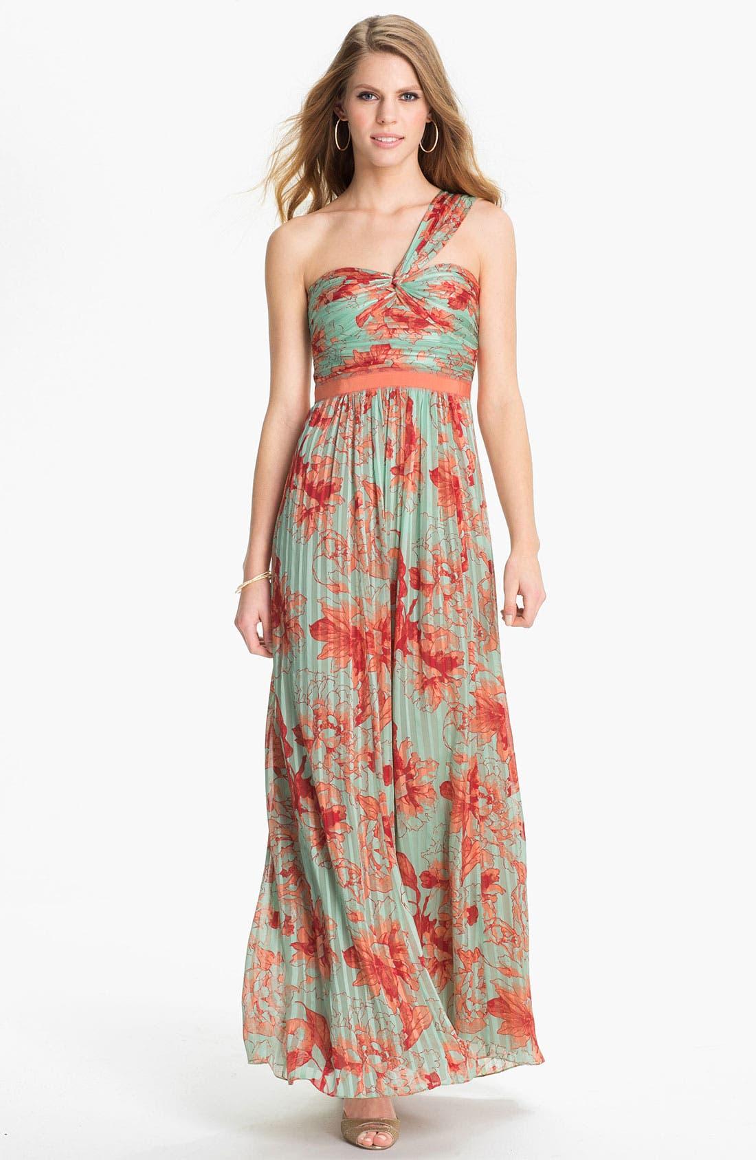 Alternate Image 1 Selected - BCBGMAXAZRIA 'Inga' Print Silk Chiffon Gown