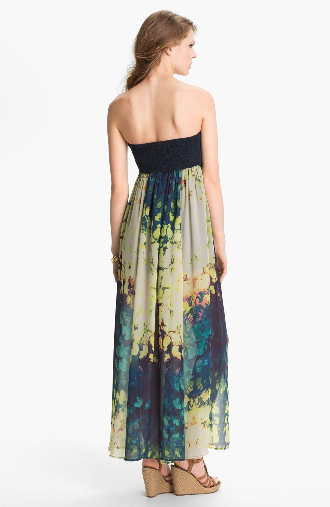 Alternate Image 2  - Fire Strapless Print Chiffon Maxi Dress (Juniors)