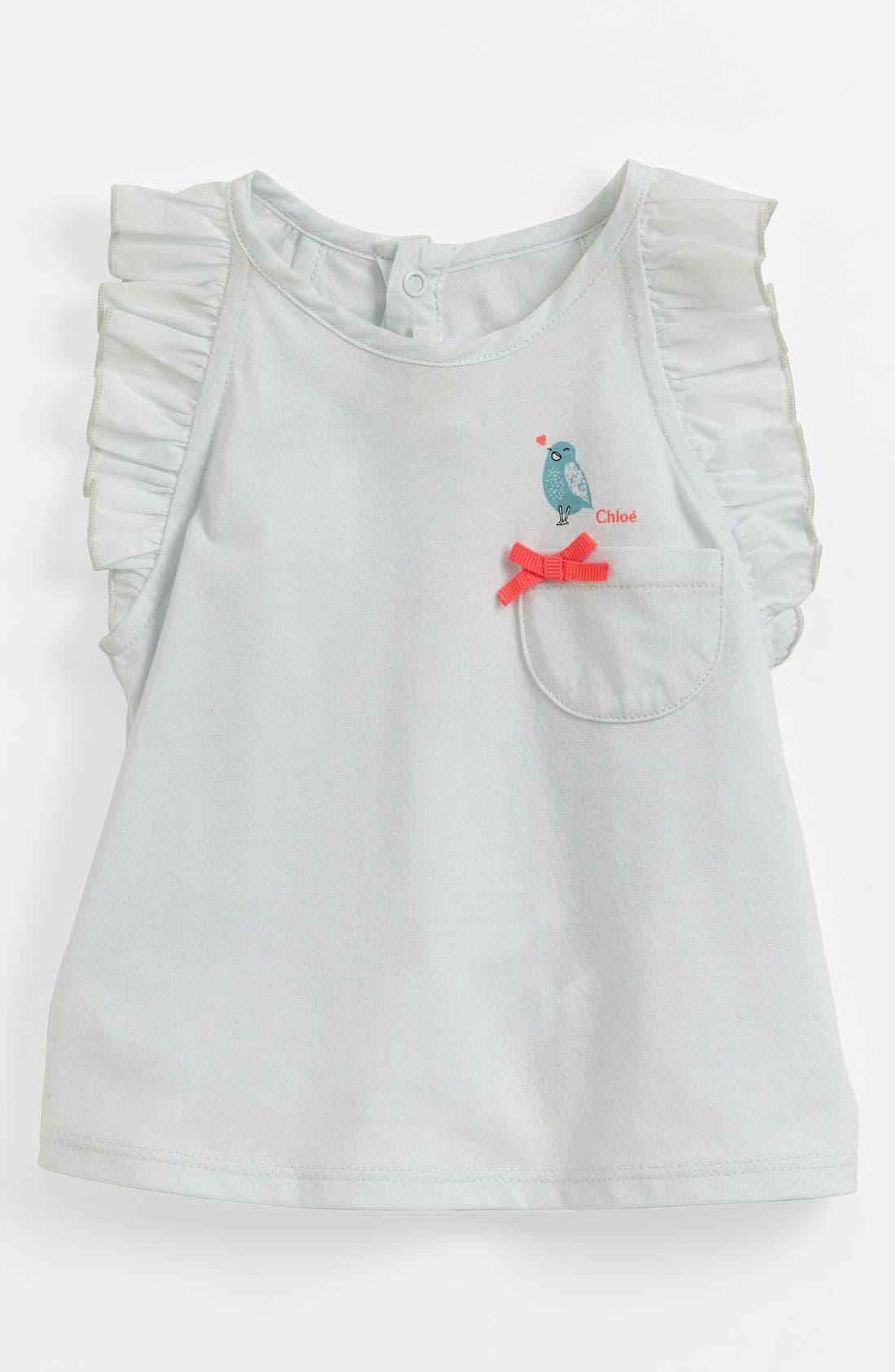 Main Image - Chloé Ruffle Sleeve Tank Top (Baby)
