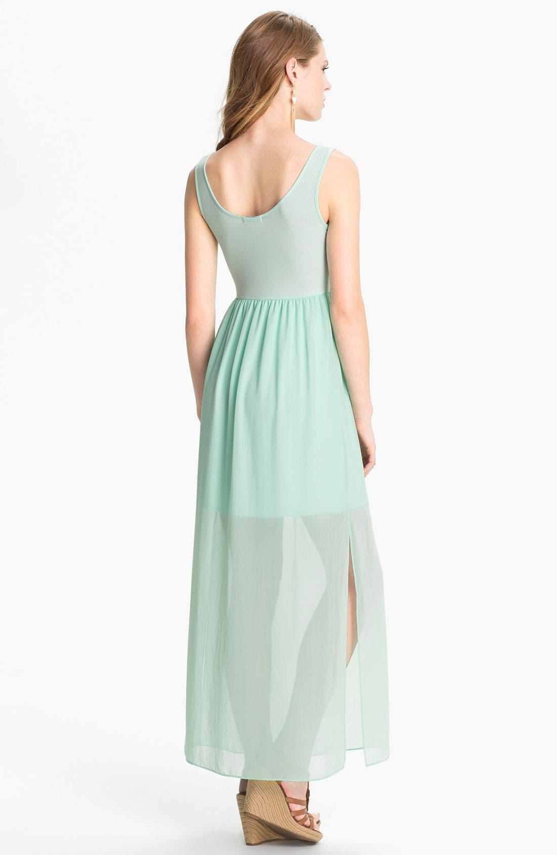 Alternate Image 2  - Soprano Half Sheer Maxi Dress (Juniors)