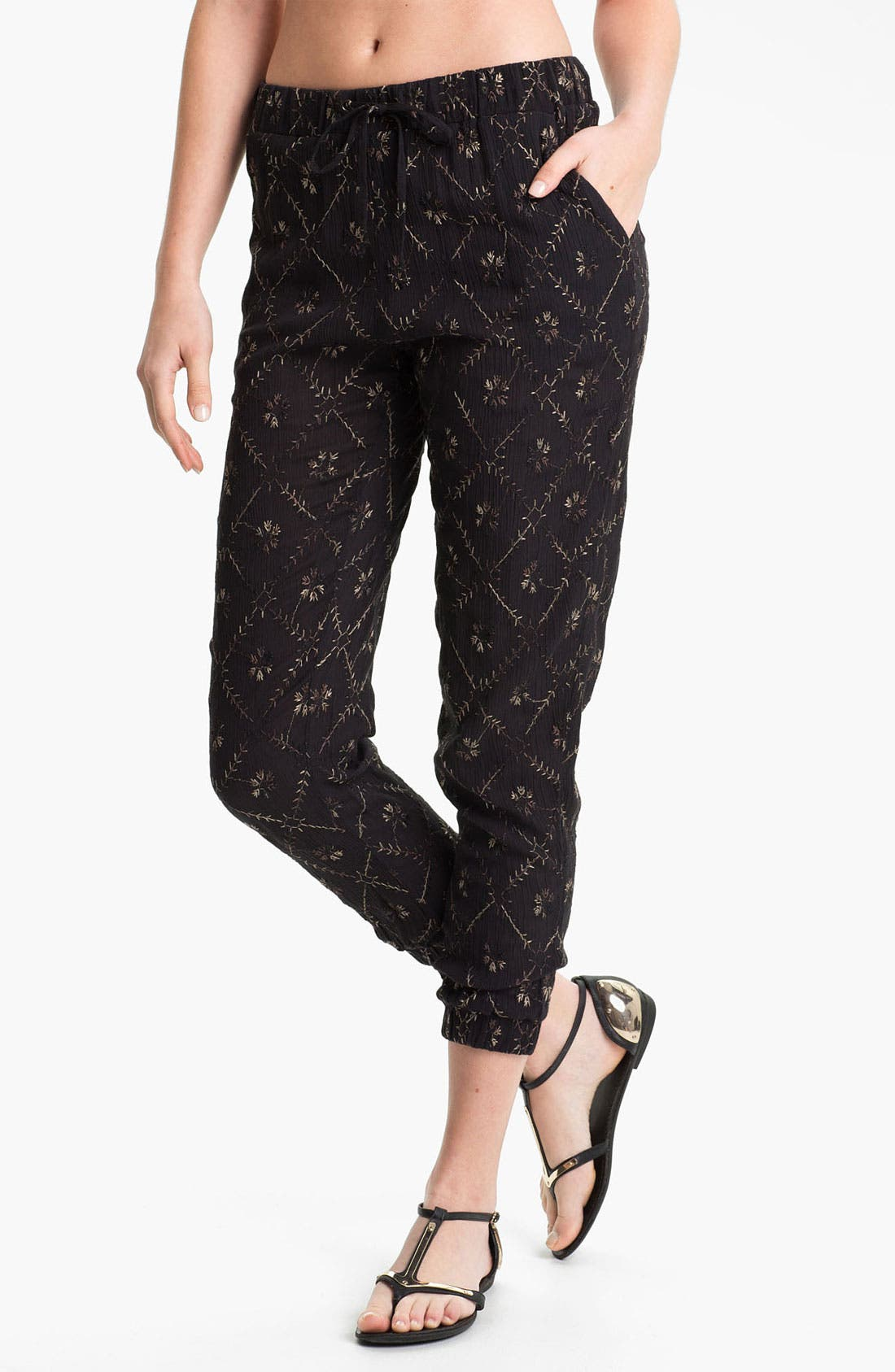 Main Image - Free People 'Storm Chaser' Embroidered Jogging Pants