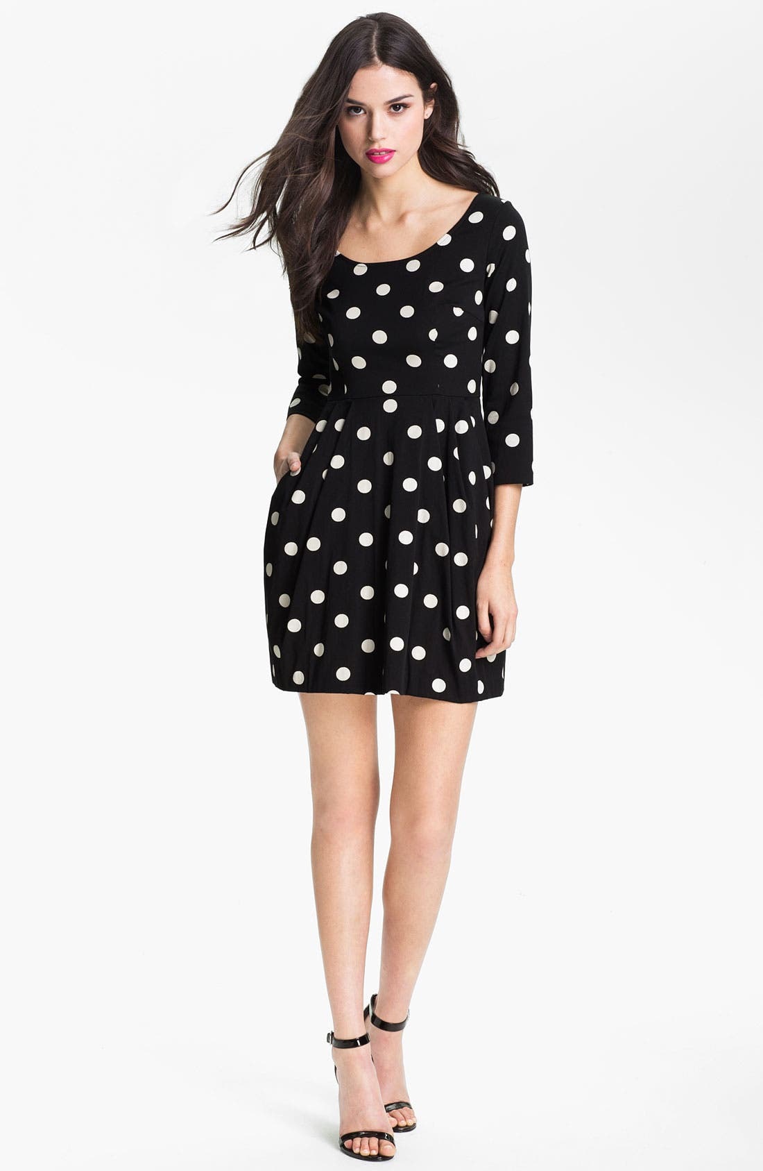 Main Image - Betsey Johnson Polka Dot Ponte Knit Dress