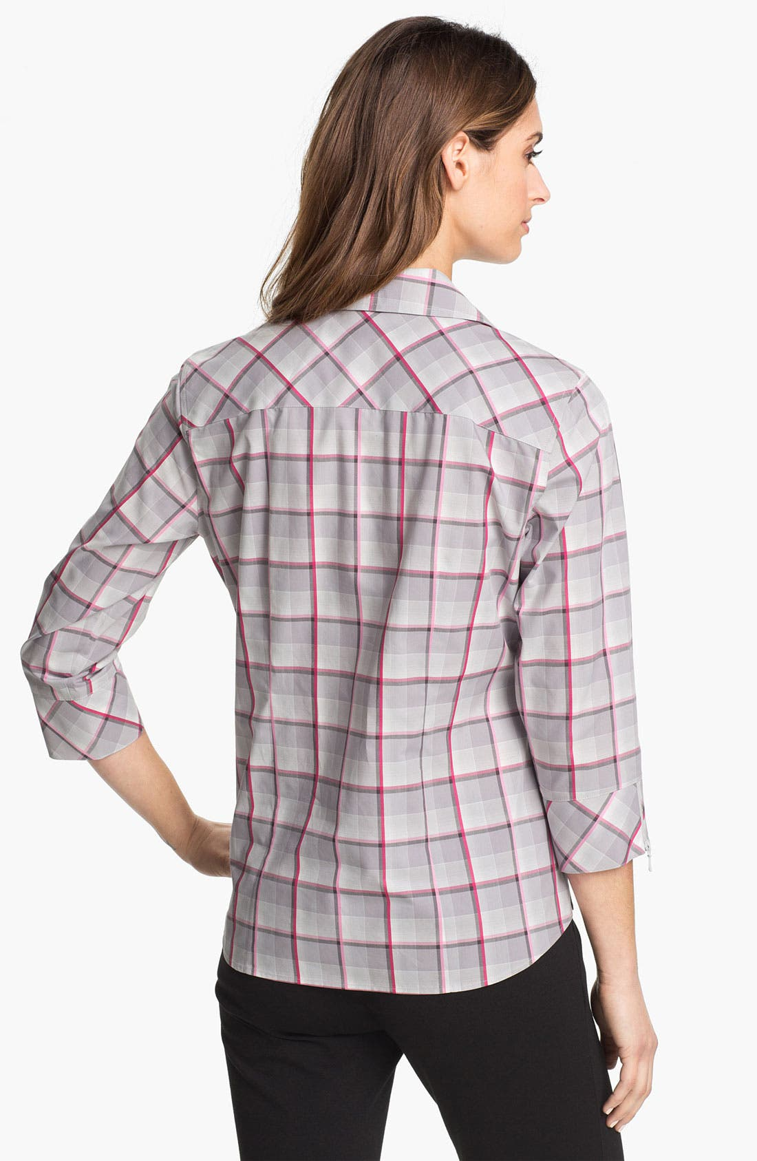 Alternate Image 2  - Foxcroft Zip Front Multi Plaid Shirt (Petite)