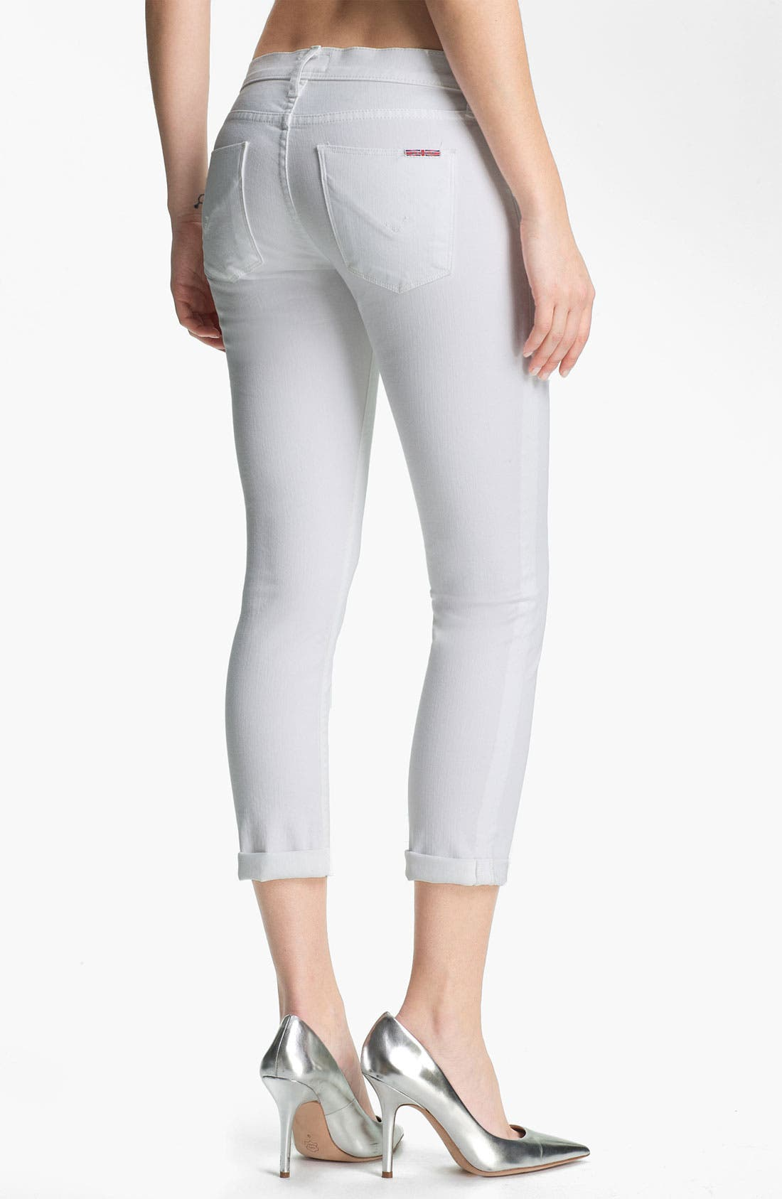 Alternate Image 2  - Hudson Jeans 'Collette' Cuff Skinny Jeans (White)
