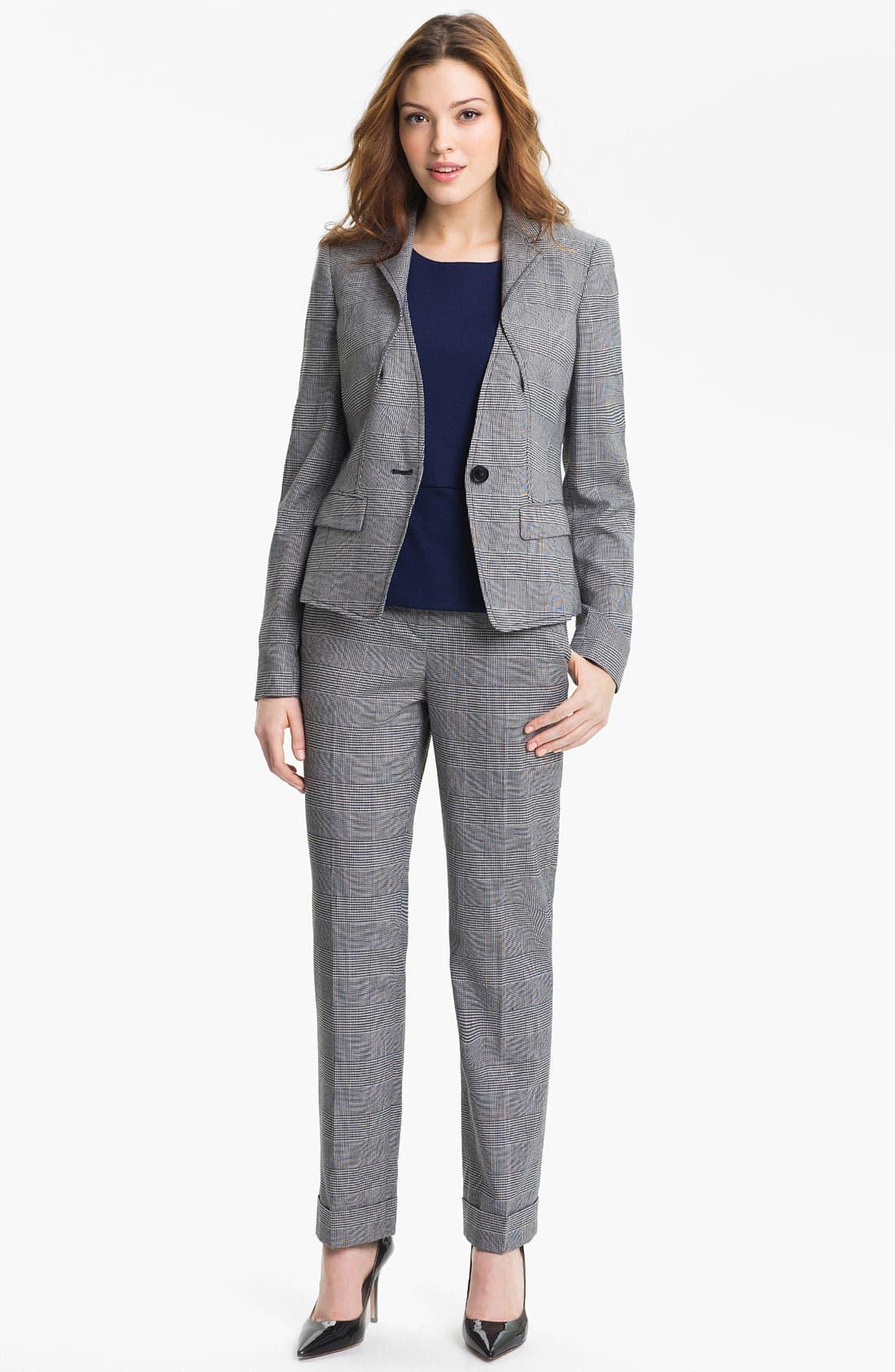 Alternate Image 4  - Anne Klein Cuffed Glen Plaid Pants (Petite)