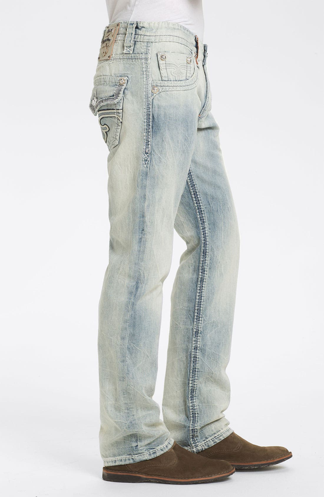 Alternate Image 3  - Rock Revival 'Rocky T' Straight Leg Jeans (Light Blue)