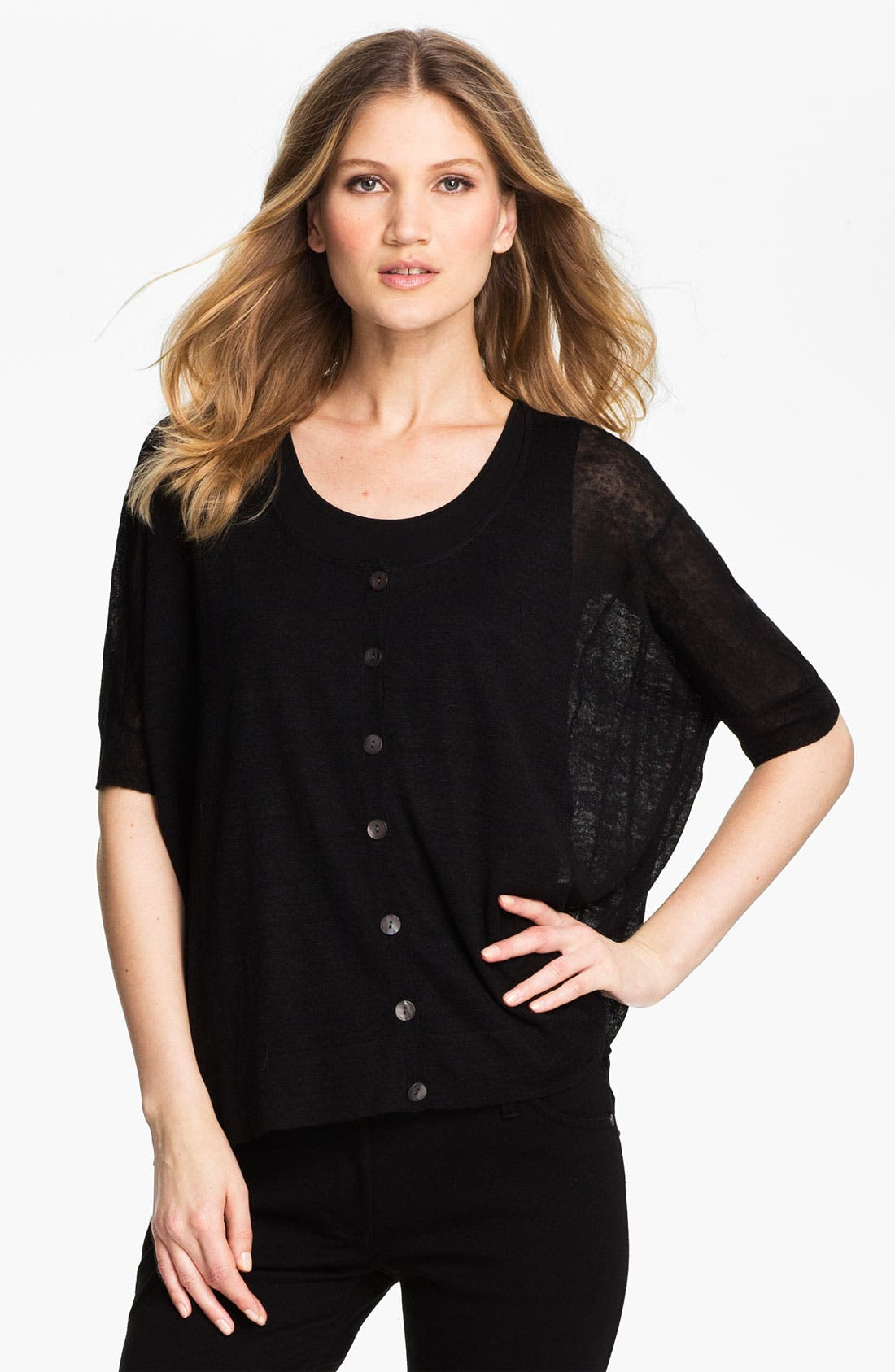 Alternate Image 1 Selected - Eileen Fisher Sheer Hemp Blend Cardigan (Petite)