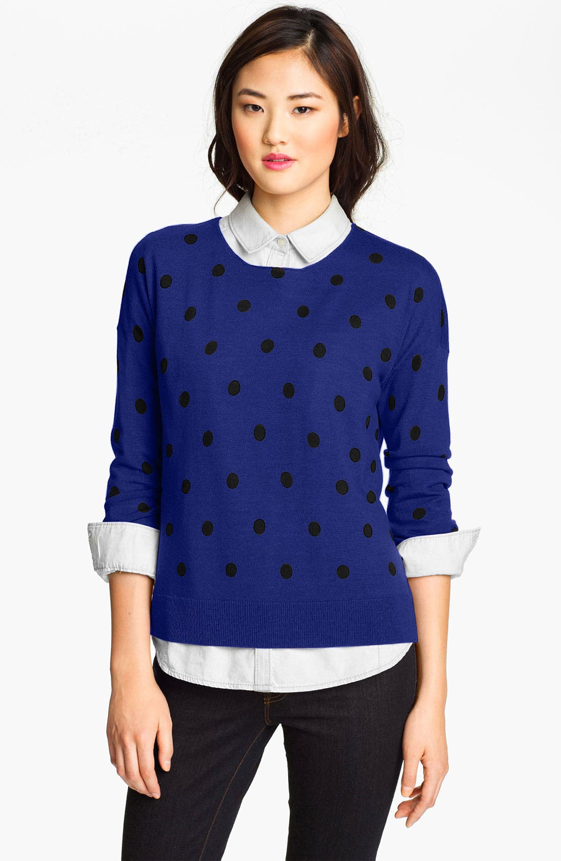 Main Image - Only Mine Dot Print Crewneck Sweater (Online Only)