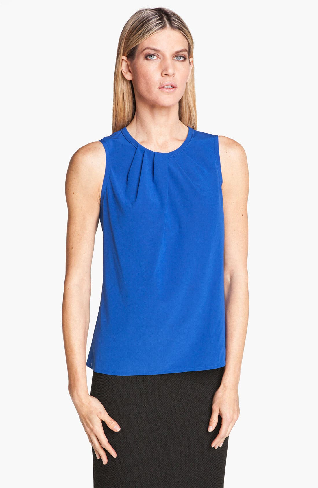 Main Image - St. John Collection Pleated Neck Silk Top