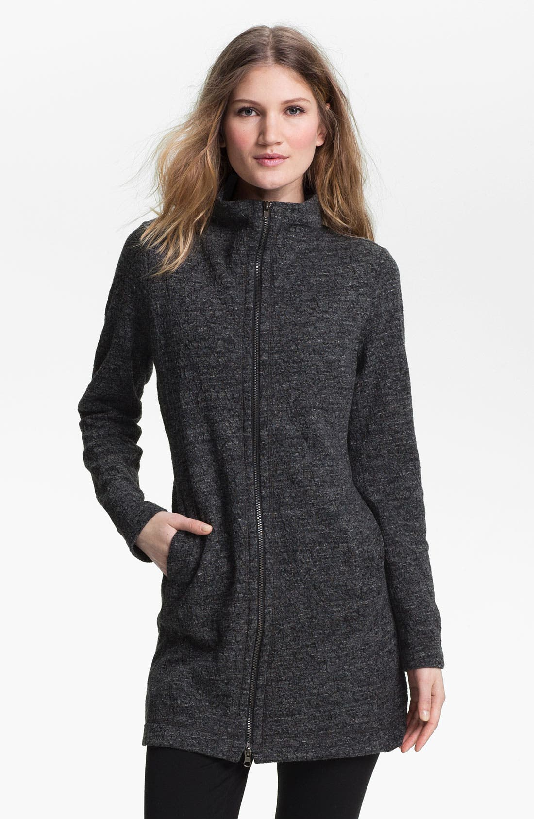 Alternate Image 1 Selected - Eileen Fisher Funnel Neck Zip Jacket (Petite)