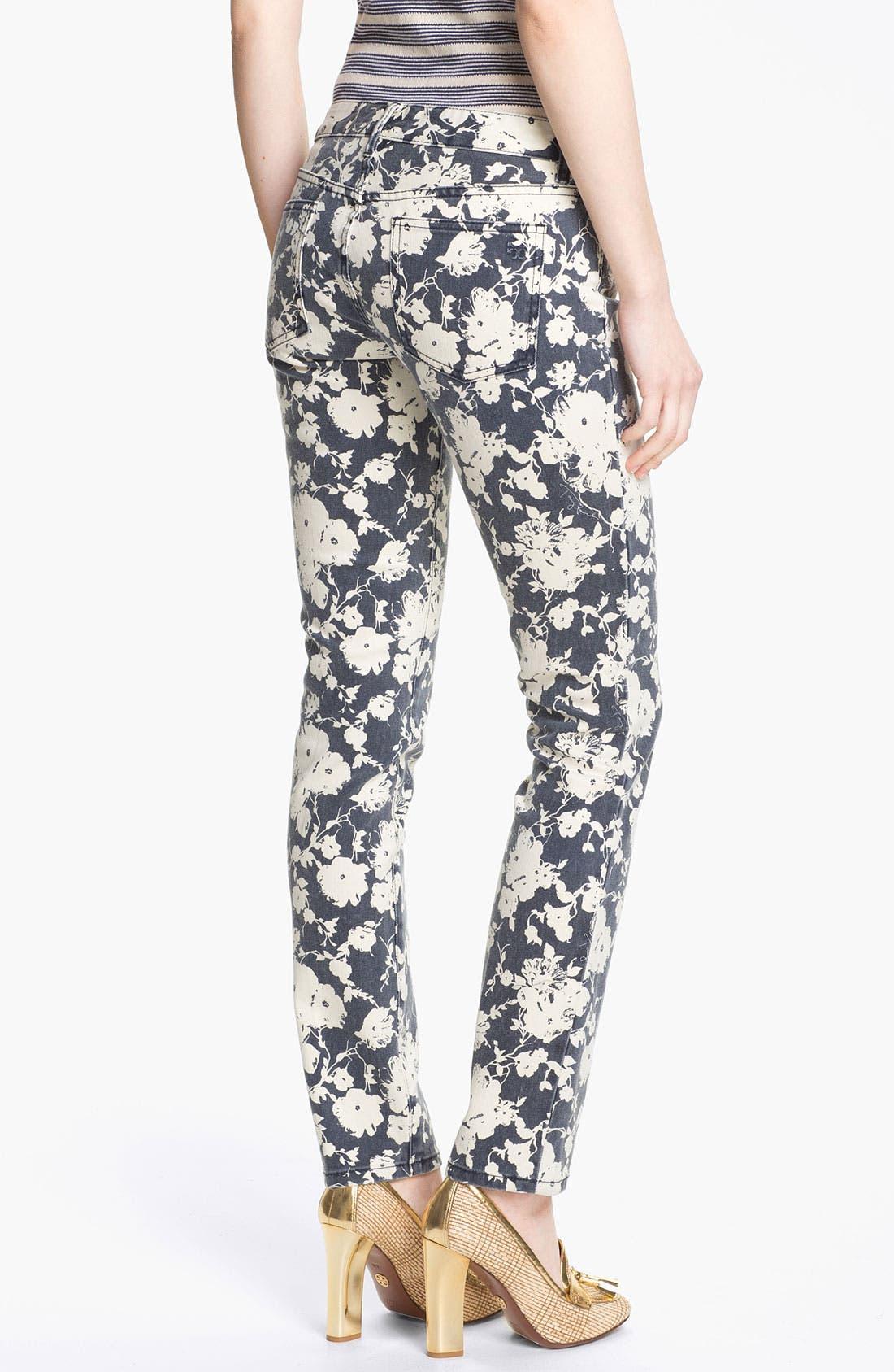 Alternate Image 2  - Tory Burch 'Alexa' Print Skinny Jeans (Tory Navy Abbott)