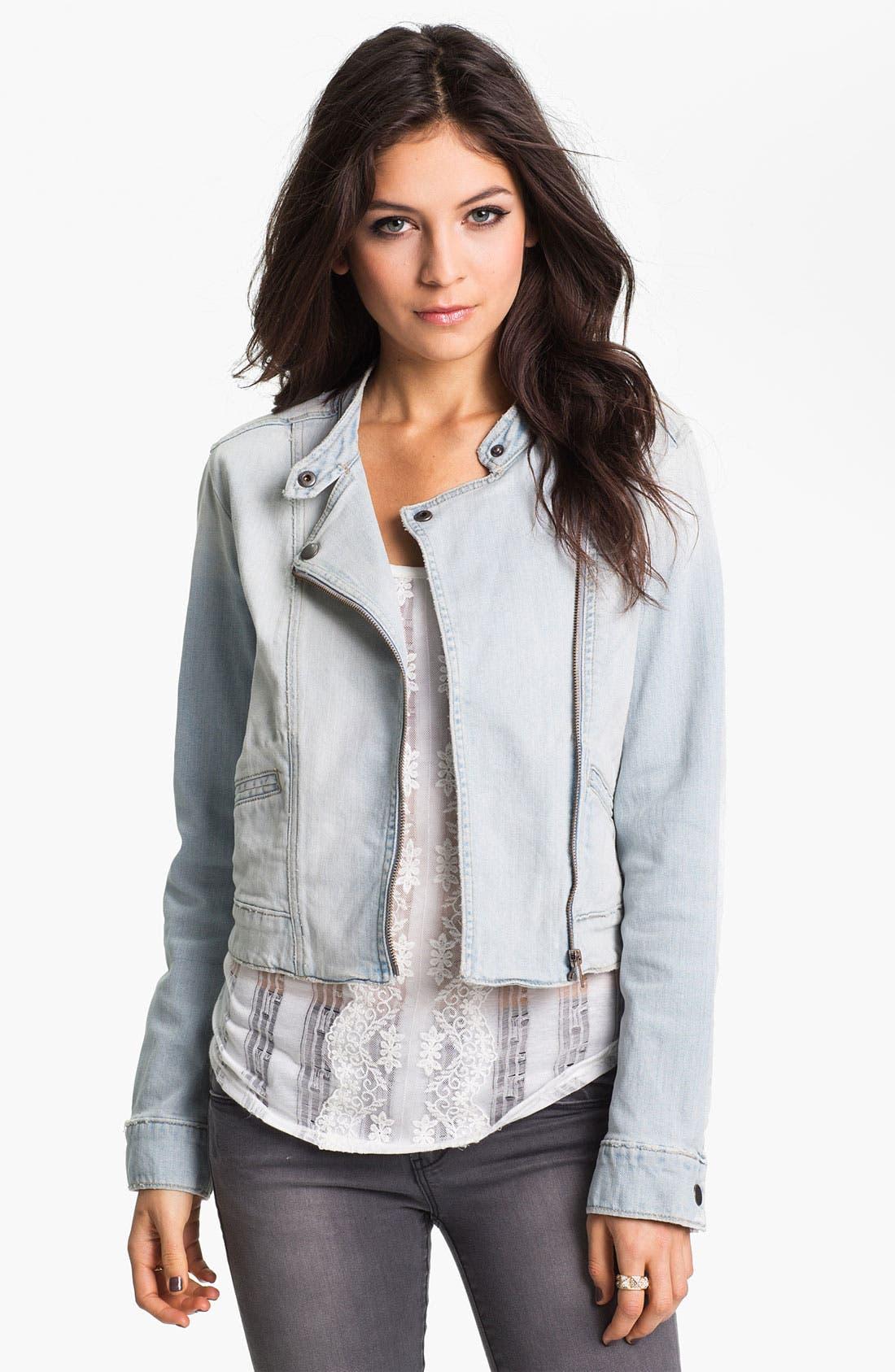 Alternate Image 1 Selected - Rubbish® Denim Moto Jacket (Juniors)