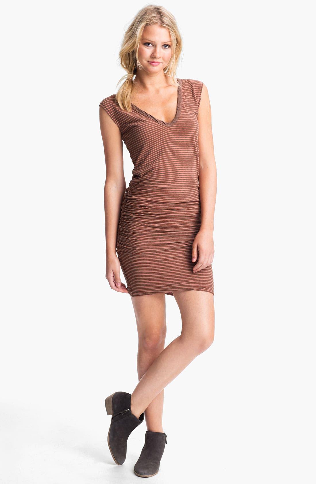 Alternate Image 1 Selected - James Perse Stripe Ruched V-Neck Dress