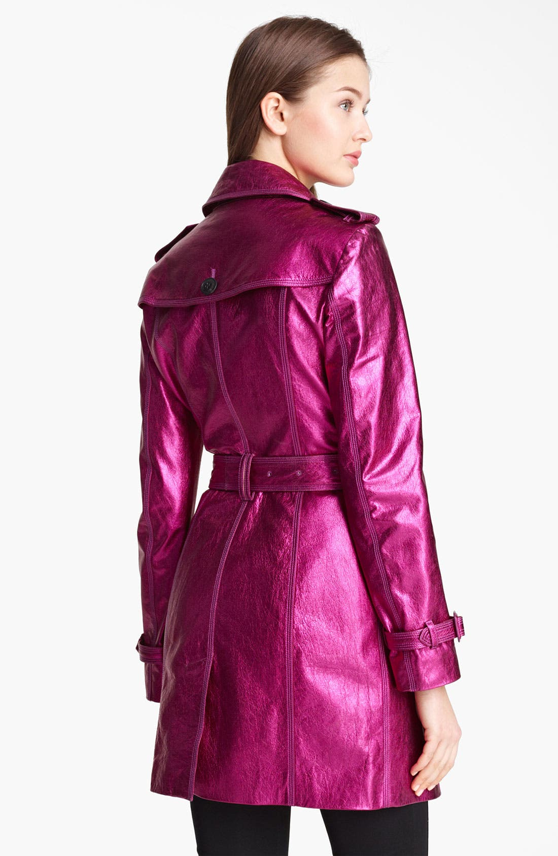 London Metallic Leather Trench Coat,                             Alternate thumbnail 2, color,                             Fuchsia