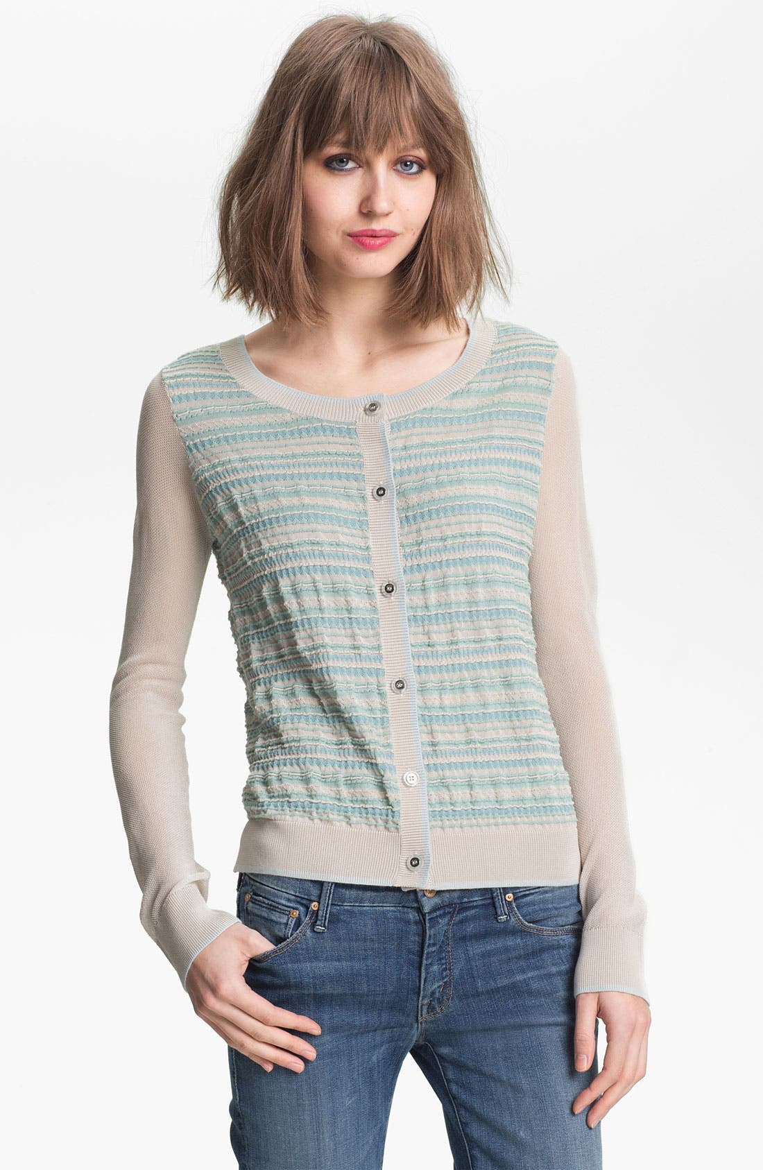 Alternate Image 1 Selected - Hinge Pucker Stripe Cardigan