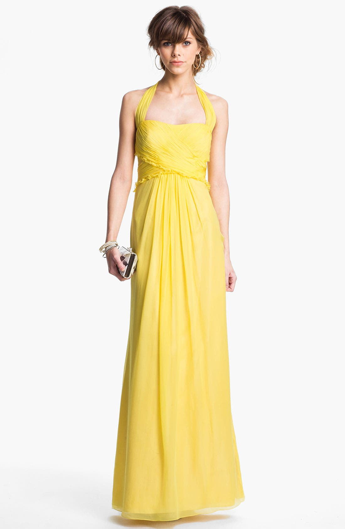Alternate Image 1 Selected - JS Boutique Ruffled Silk Chiffon Halter Gown