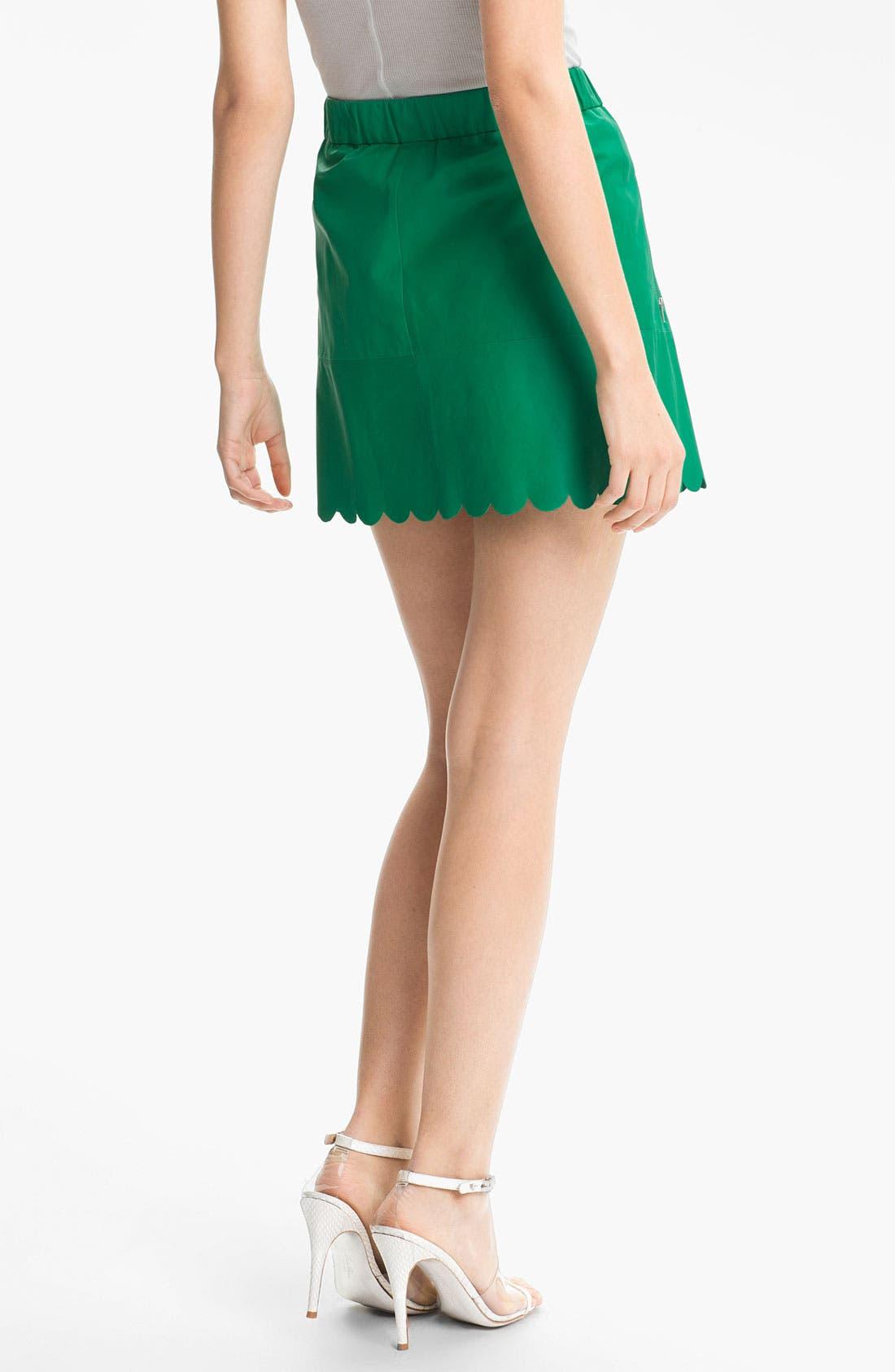 Alternate Image 2  - Tracy Reese Lambskin Leather Miniskirt