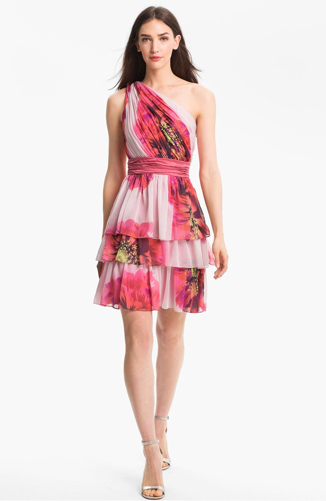 Alternate Image 1 Selected - Max & Cleo One Shoulder Tiered Chiffon Dress