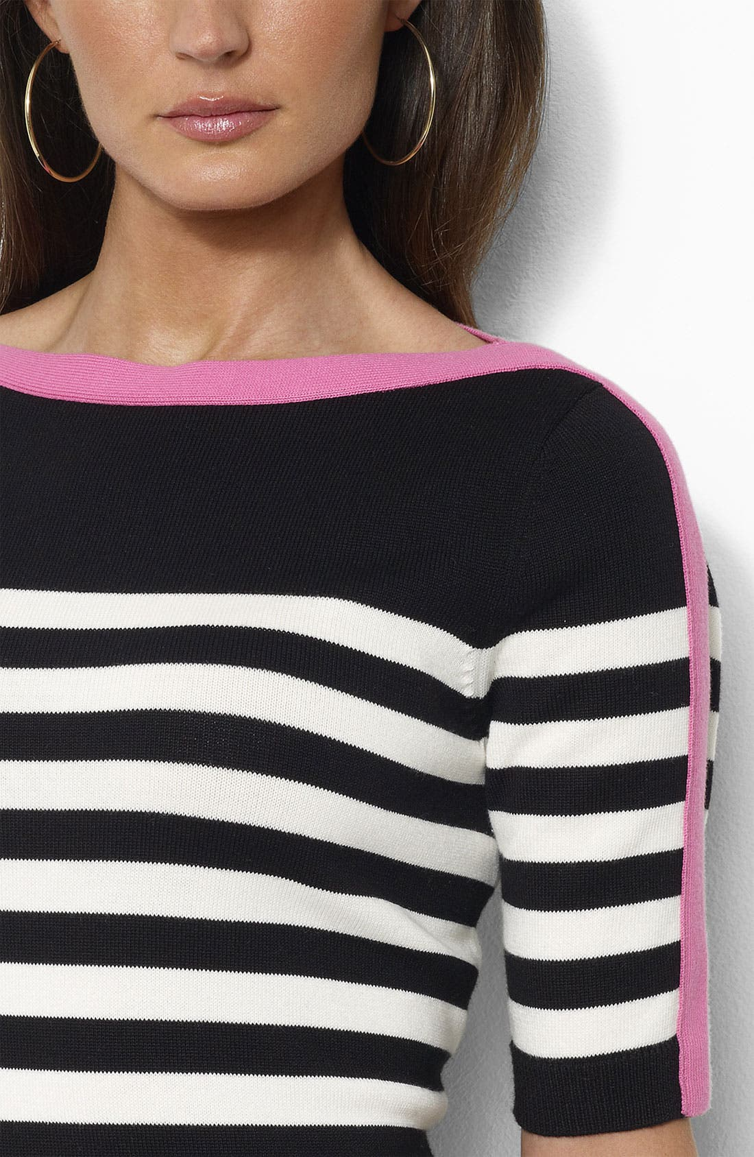 Alternate Image 3  - Lauren Ralph Lauren Bateau Neck Stripe Sweater