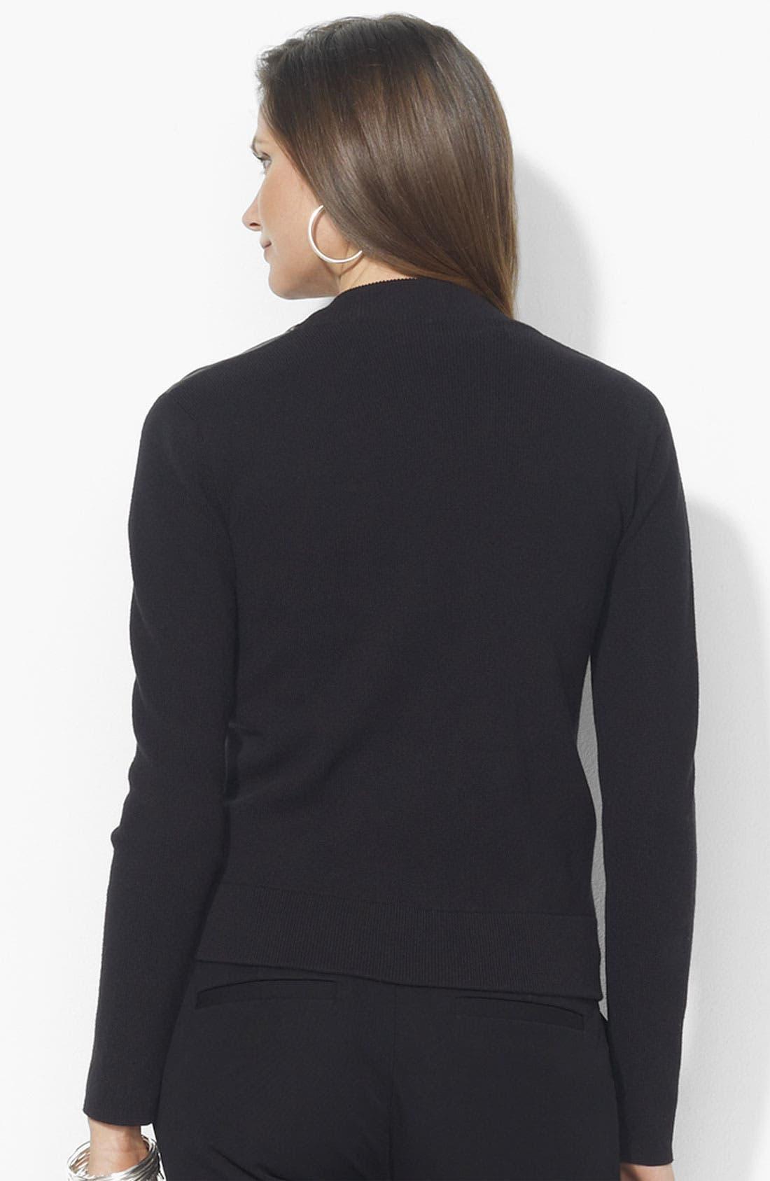 Alternate Image 2  - Lauren Ralph Lauren Leather Front Cardigan