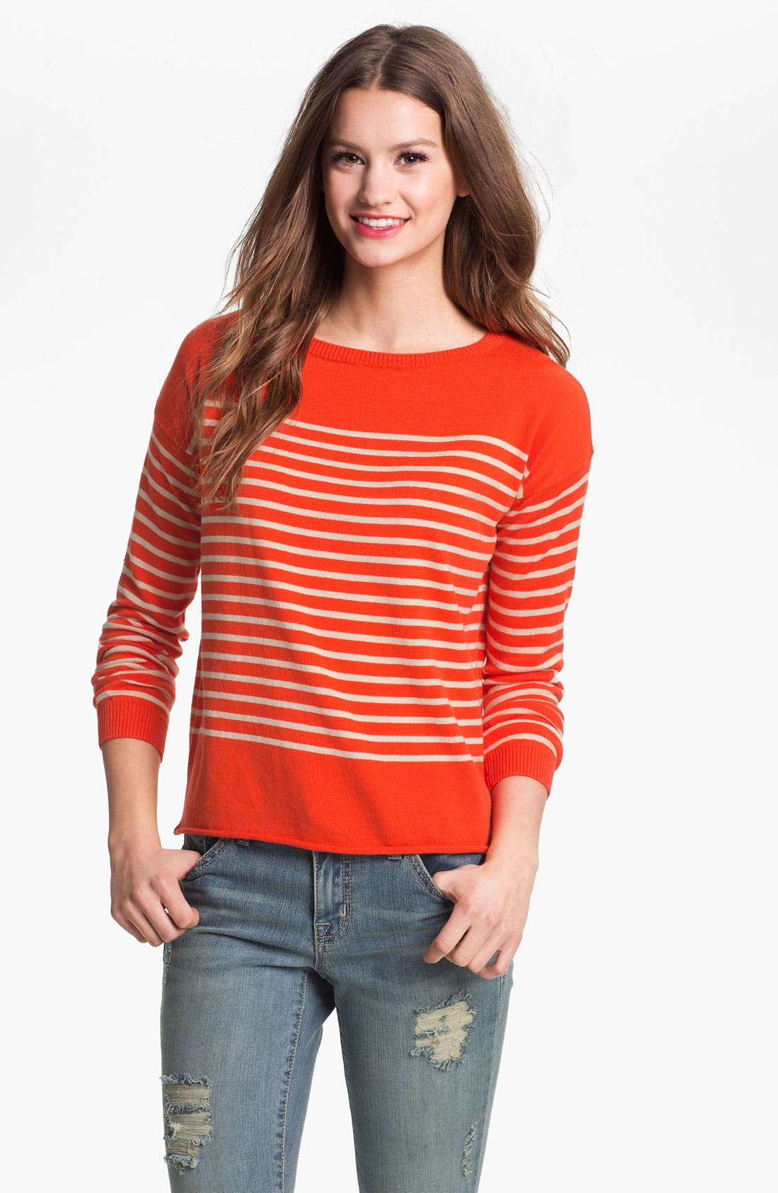 Alternate Image 1 Selected - Two by Vince Camuto Bateau Neck Stripe Sweater