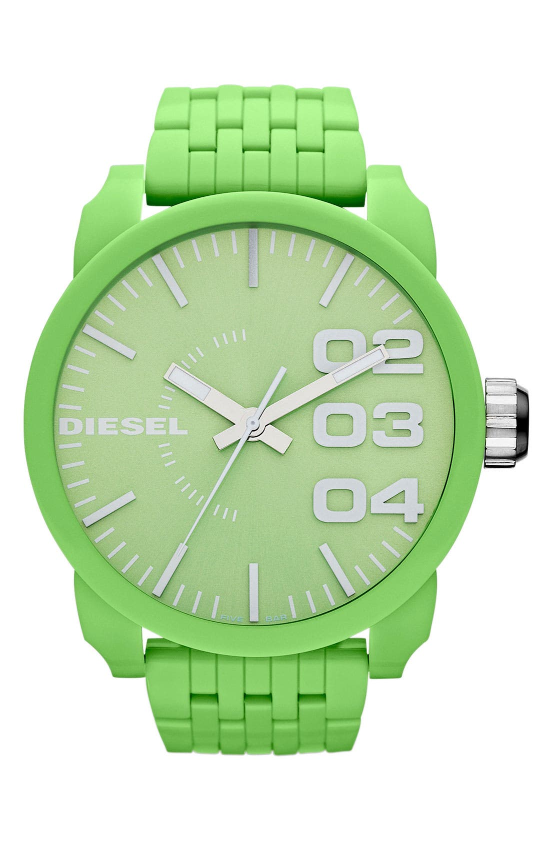 Alternate Image 1 Selected - DIESEL® 'Franchise' Oversized Round Bracelet Watch, 59mm x 67mm