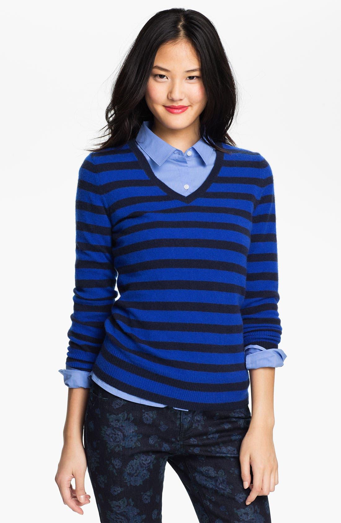 Alternate Image 1 Selected - Halogen V-Neck Cashmere Sweater (Petite)
