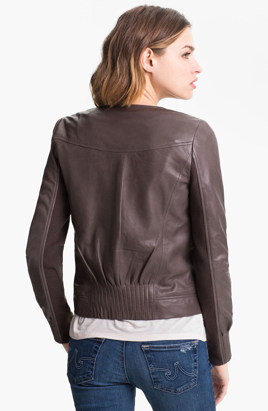 Alternate Image 2  - Trouvé Pleat Detail Leather Jacket