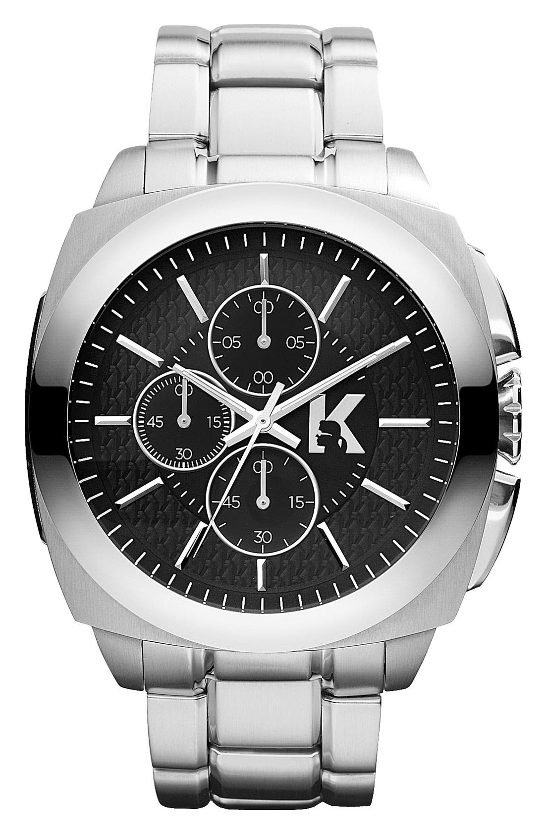 Main Image - KARL LAGERFELD 'Keeper' Chronograph Bracelet Watch, 46mm