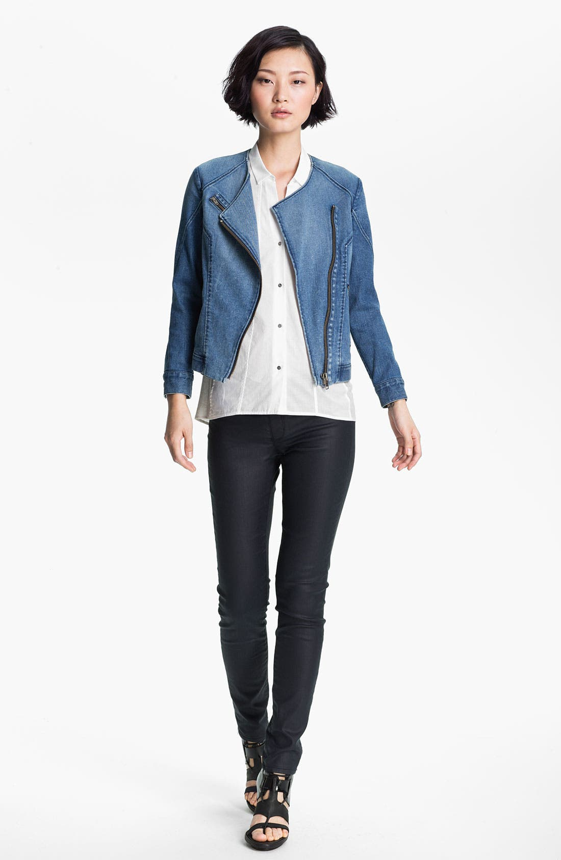 Alternate Image 1 Selected - HELMUT Helmut Lang Denim Moto Jacket