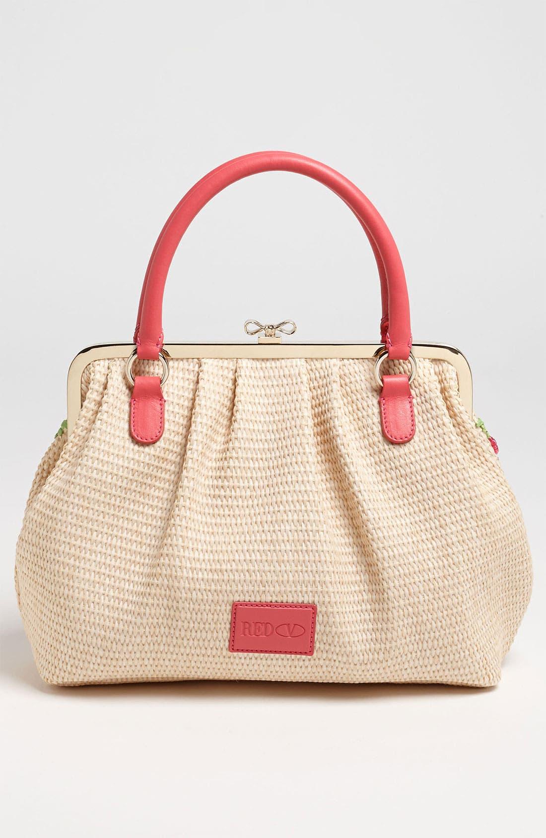 Alternate Image 4  - RED Valentino Embroidered Floral Raffia Handbag