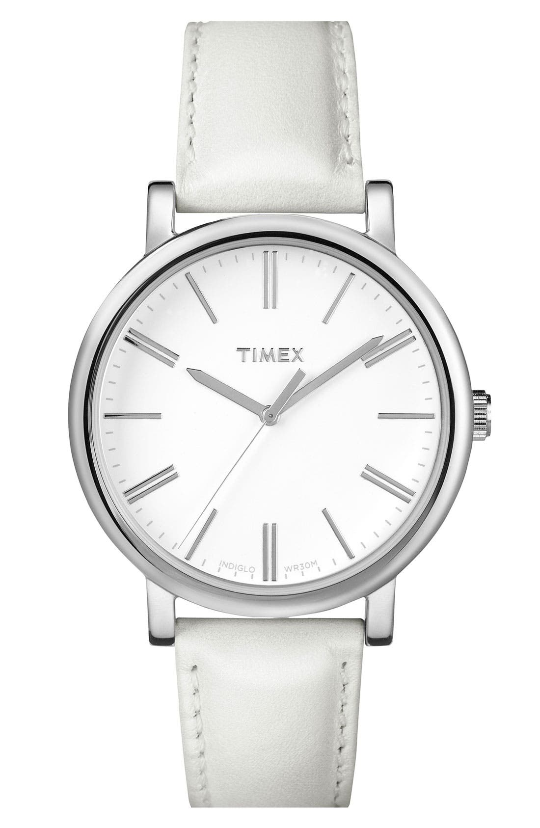 Main Image - Timex® Round Leather Strap Watch, 38mm