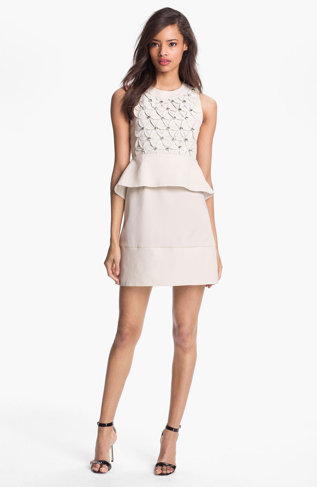 'New Delian' Mixed Media A-Line Dress,                         Main,                         color, Chalk Combo