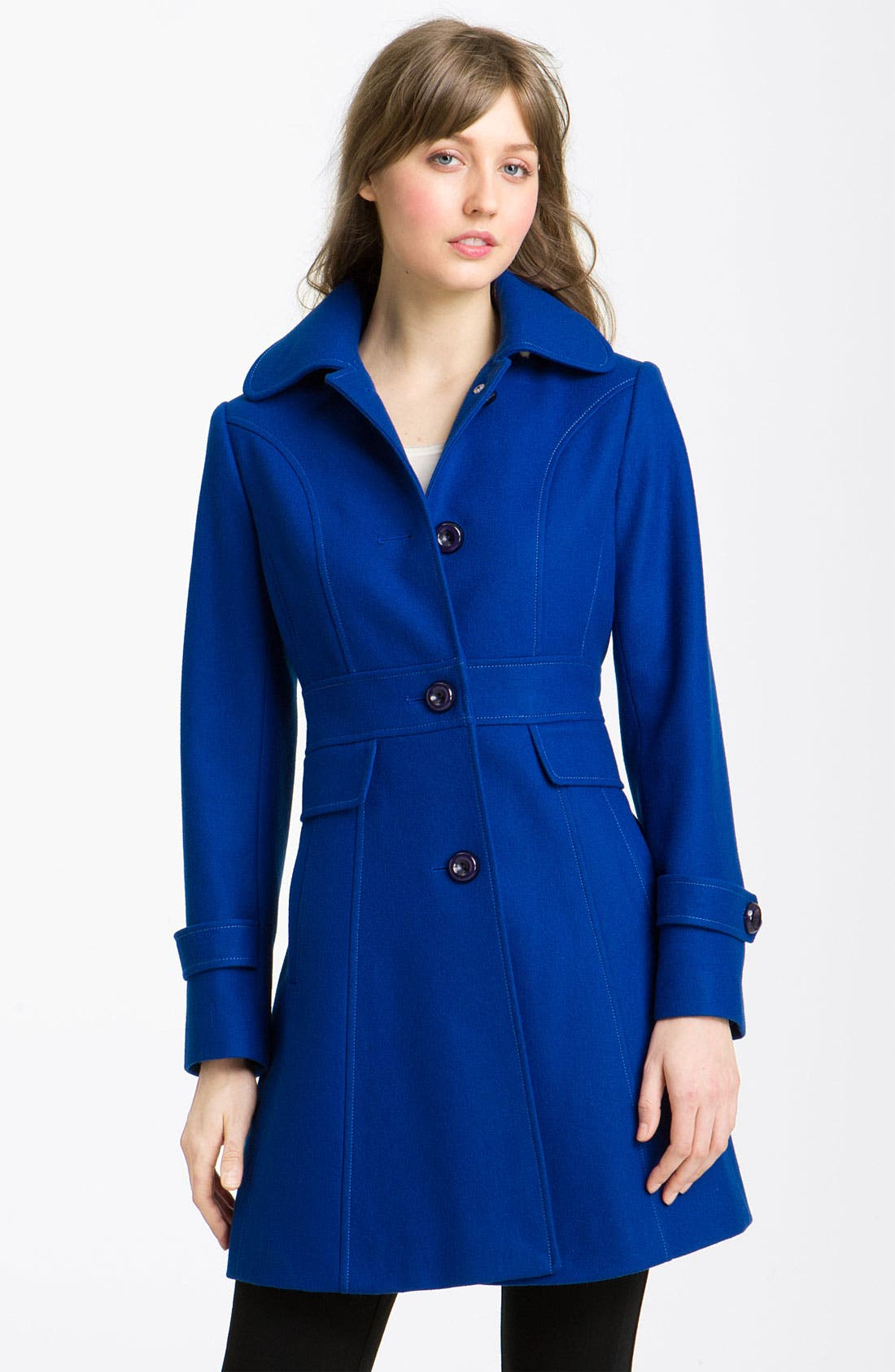 Main Image - Kenneth Cole New York Single Breasted Walking Coat (Petite)