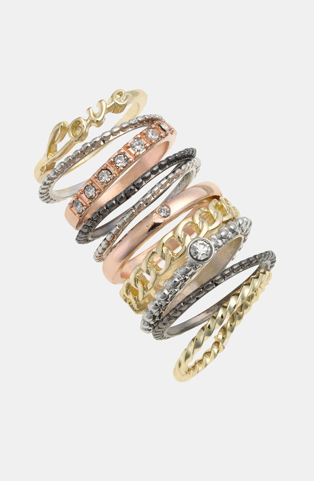 Main Image - Carole Mixed Metal Stackable Rings (Set of 10)