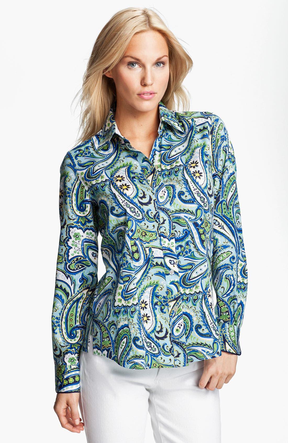 Alternate Image 1 Selected - Foxcroft 'Marina Paisley' Shirt (Petite)