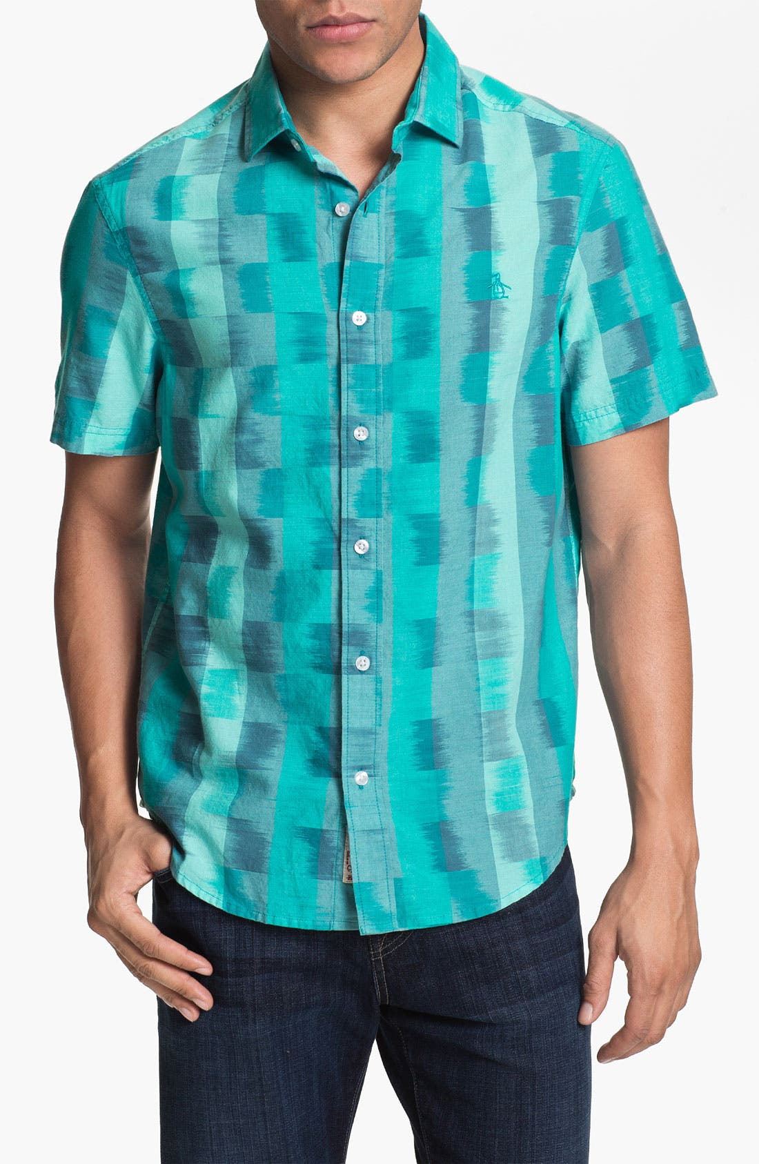 Main Image - Original Penguin Ombré Check Woven Shirt