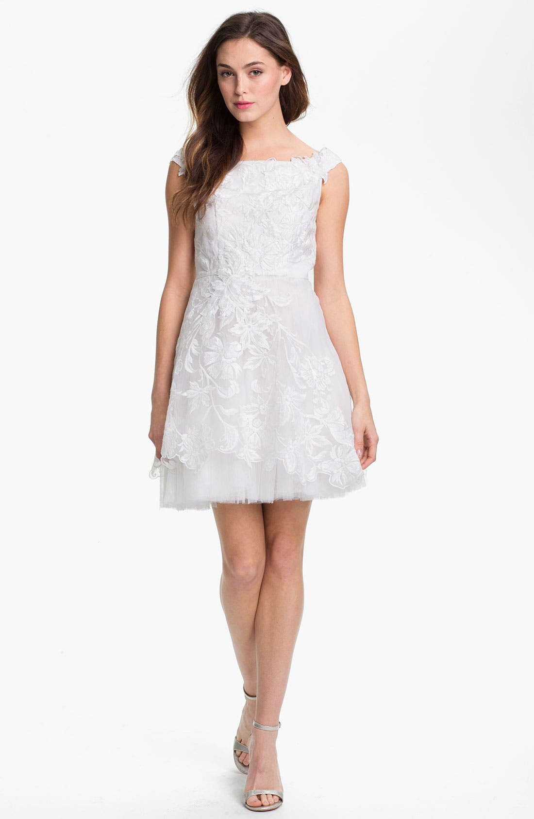 Alternate Image 1  - Adrianna Papell Embroidered Taffeta Fit & Flare Dress