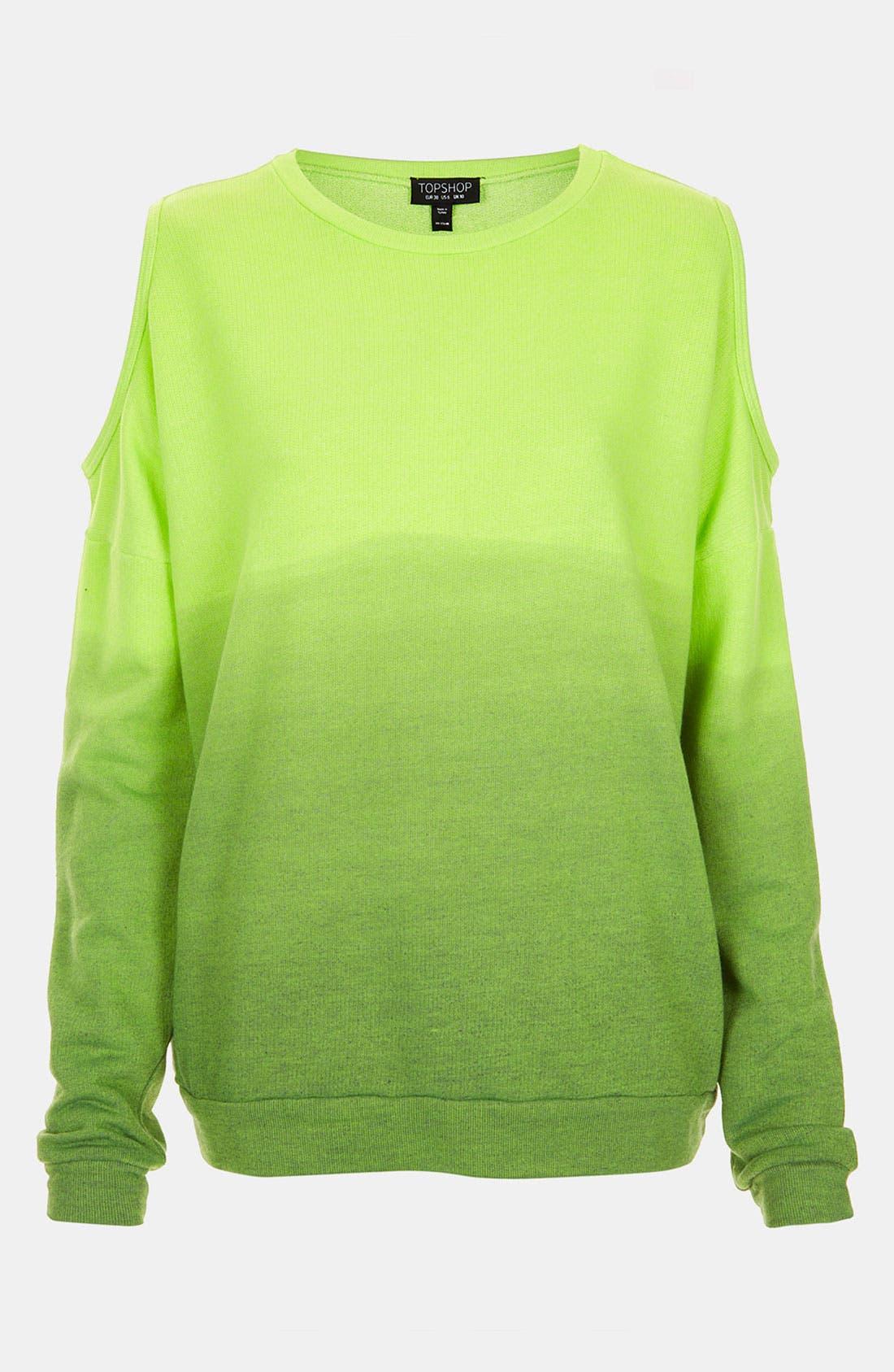 Main Image - Topshop Dip Dye Cutout Sweatshirt