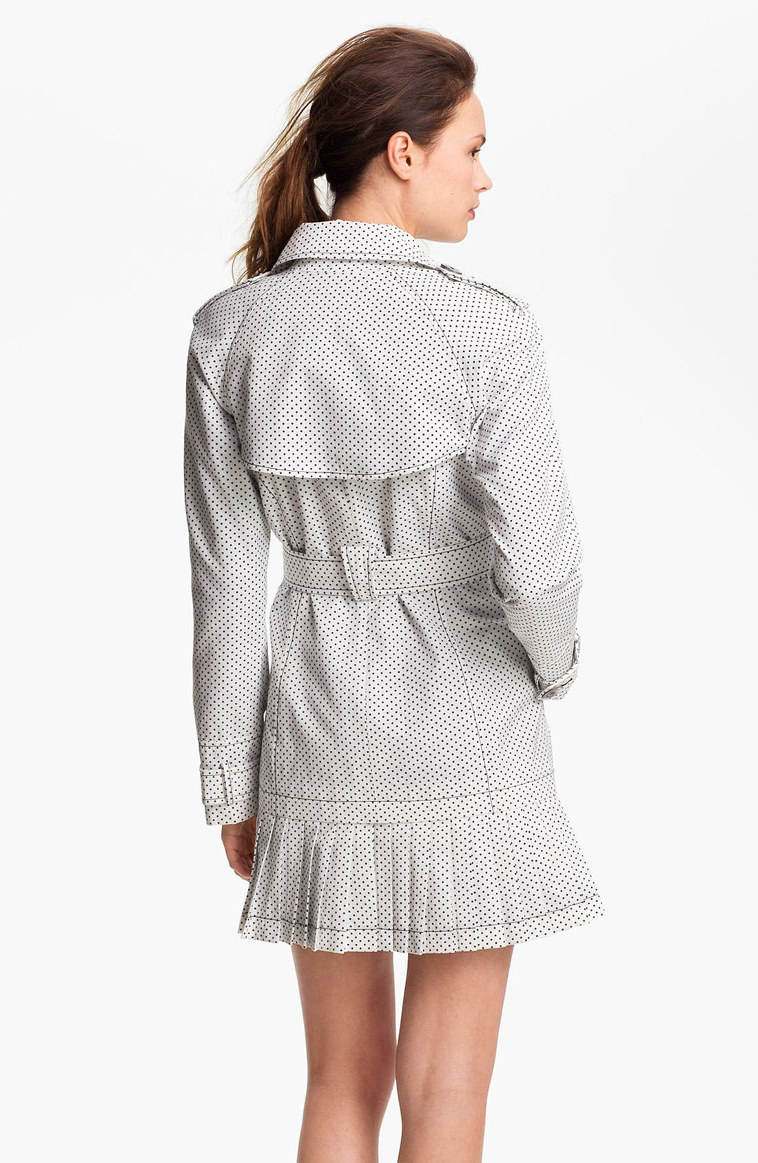 Alternate Image 2  - Ivanka Trump Polka Dot Pleat Hem Trench Coat (Online Only)