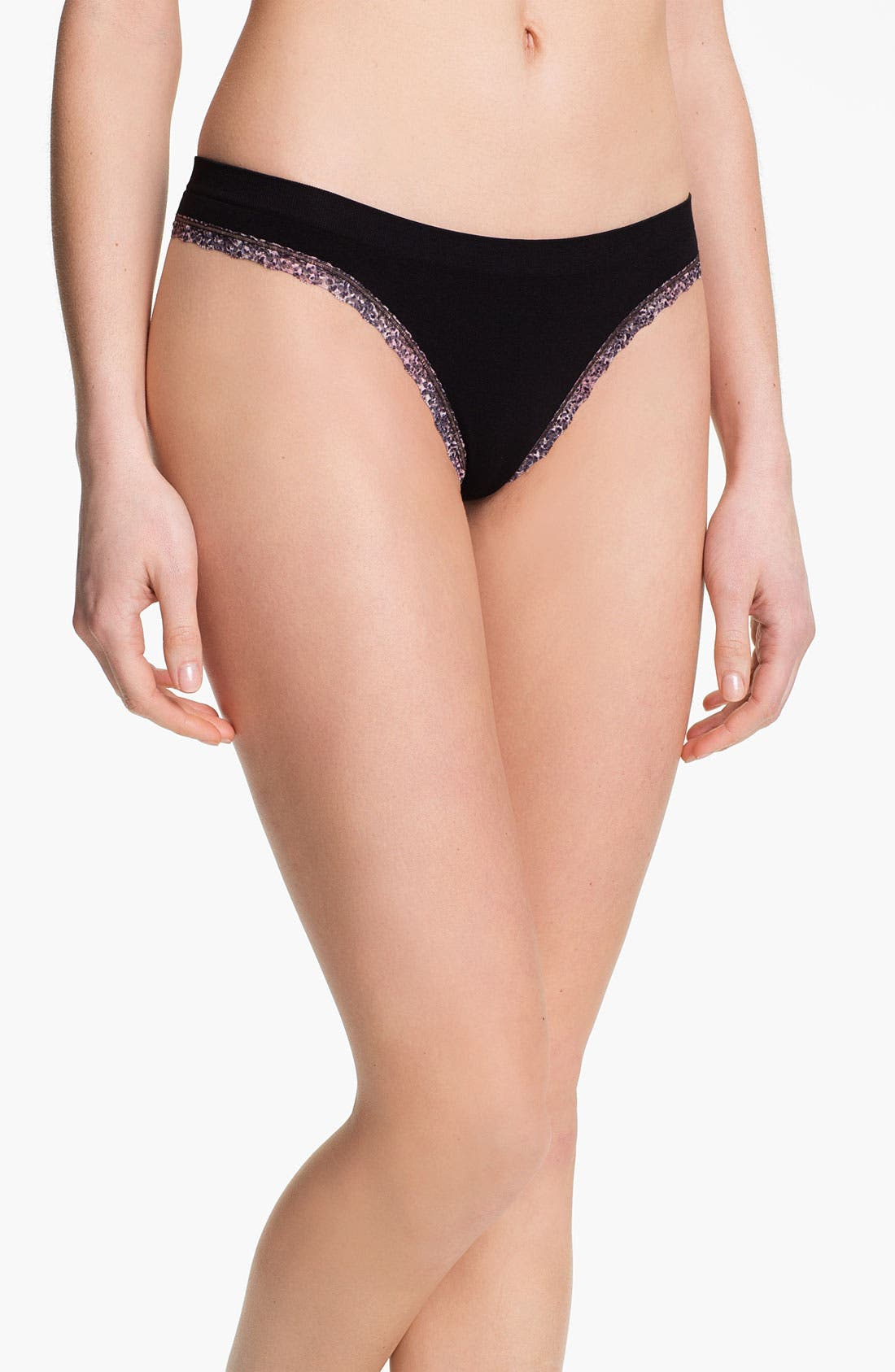 Main Image - BP. Undercover Lace Trim Seamless Thong (Juniors)