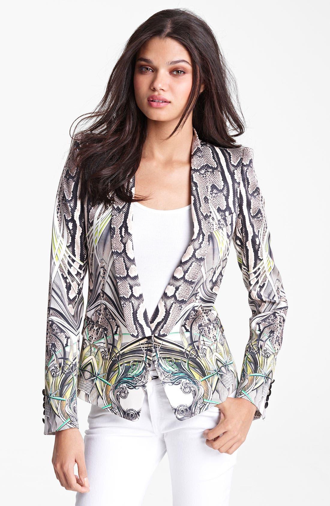 Alternate Image 1 Selected - Roberto Cavalli Reptile Print Silk Blazer