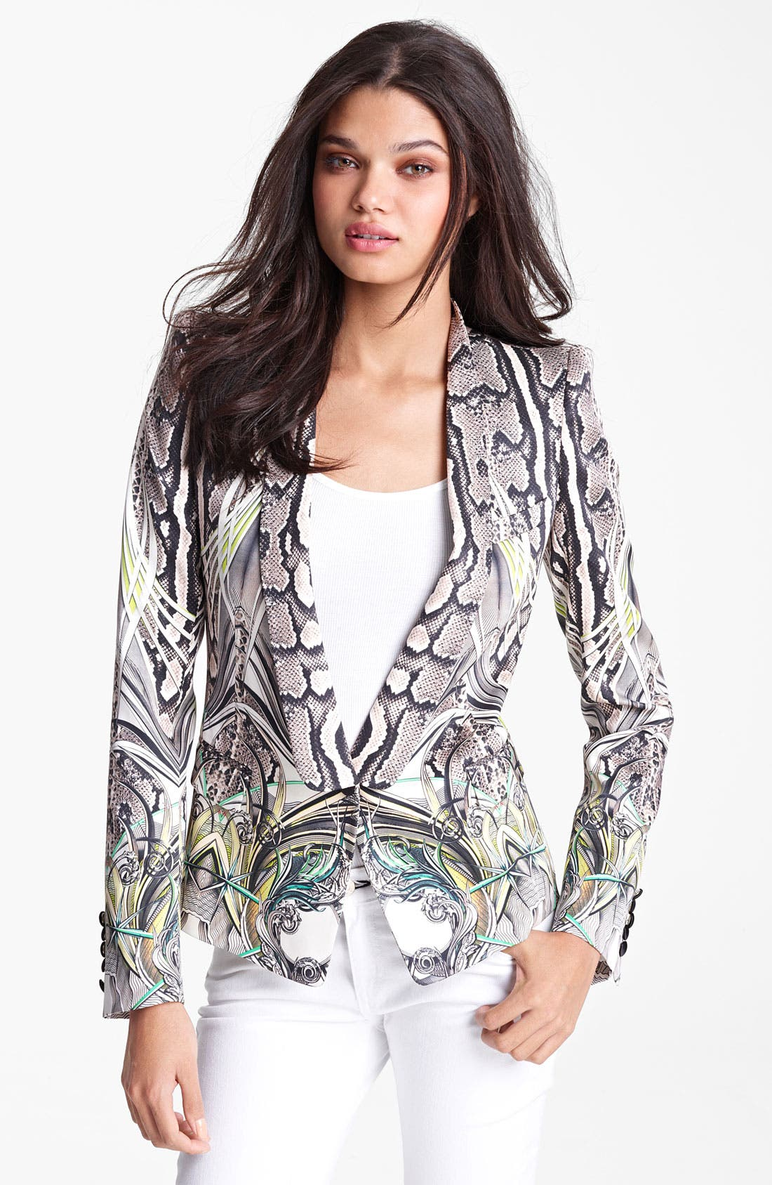 Main Image - Roberto Cavalli Reptile Print Silk Blazer