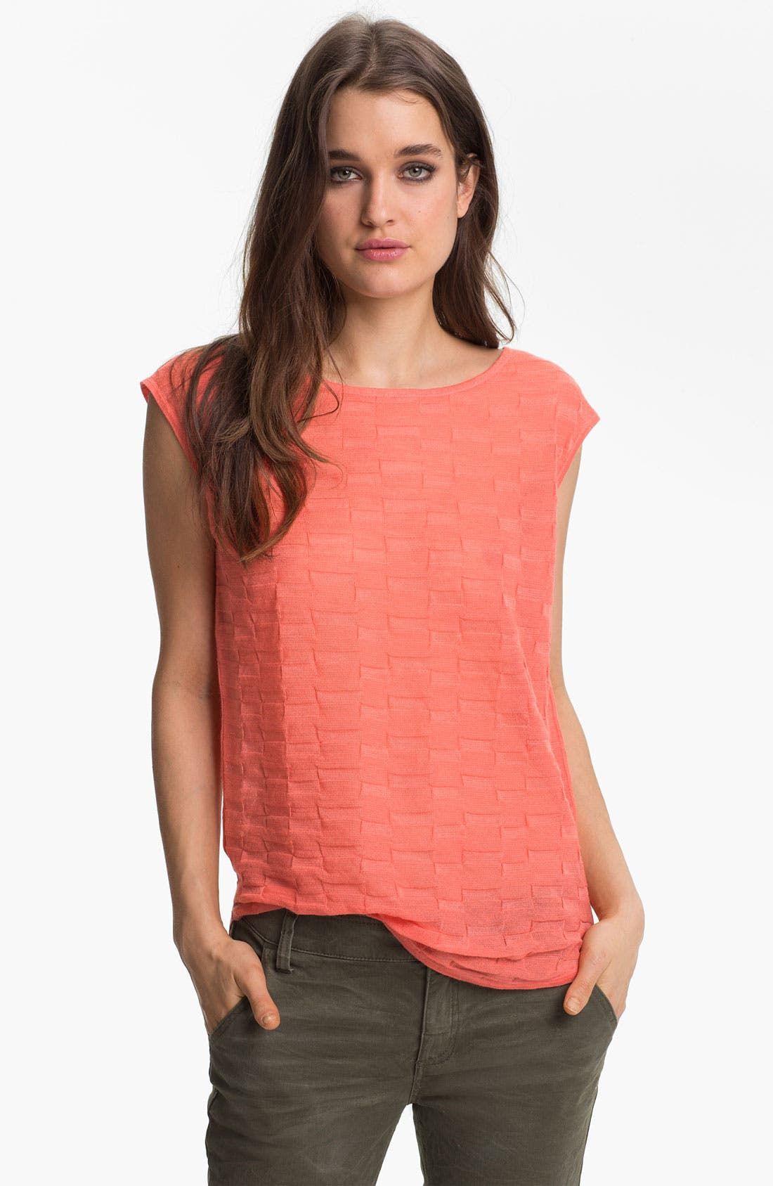 Main Image - Trouvé Textured Sheer Cap Sleeve Top